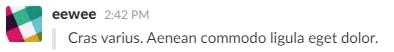 Citation (simple ligne) sur Slack