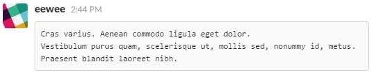 Code (multiple lignes) sur Slack