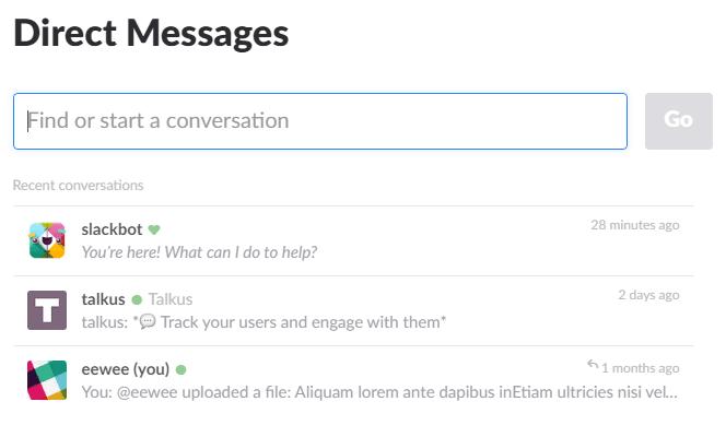 Direct messages sur Slack