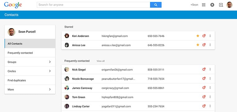 google contact new interface