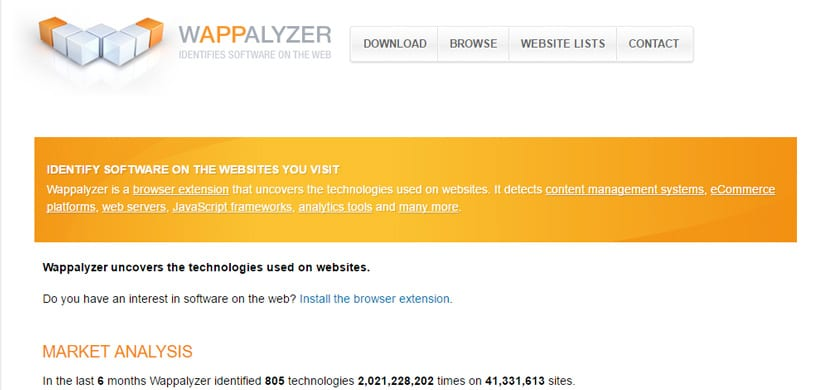 extension google chrome : wappalizer