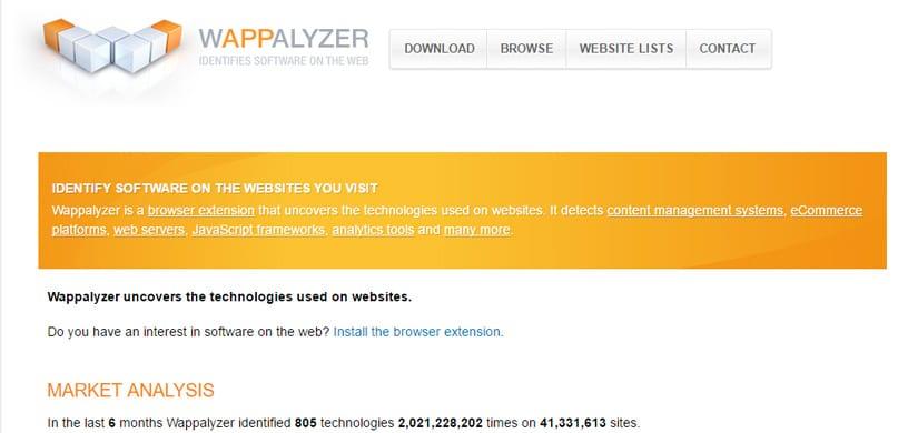 extension google chrome : wappalizer