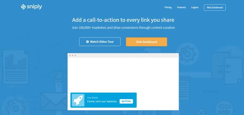sniply ajouter CTA sur vos partages home