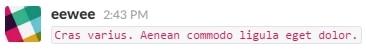 Code (simple ligne) sur Slack
