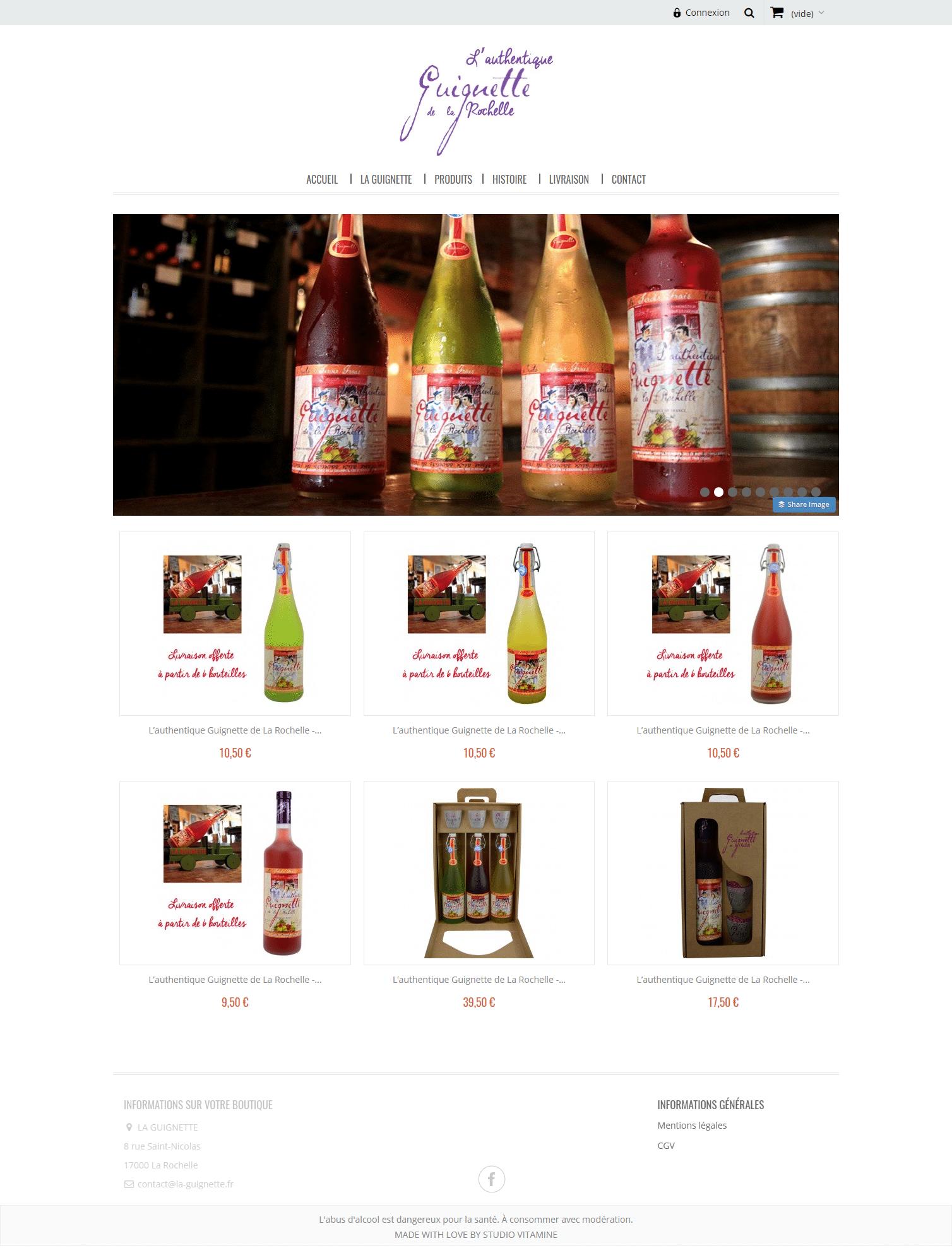 la guiguette - site web - liste produits